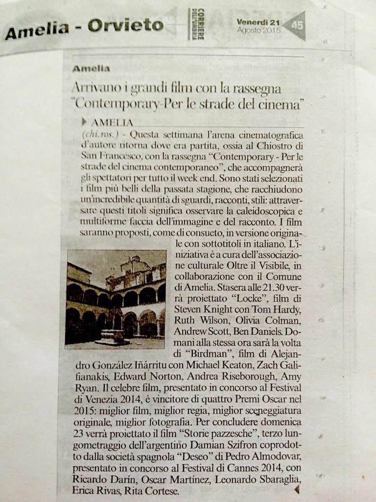 Corriere dell'Umbria,  venerdì 21 Agosto 2015