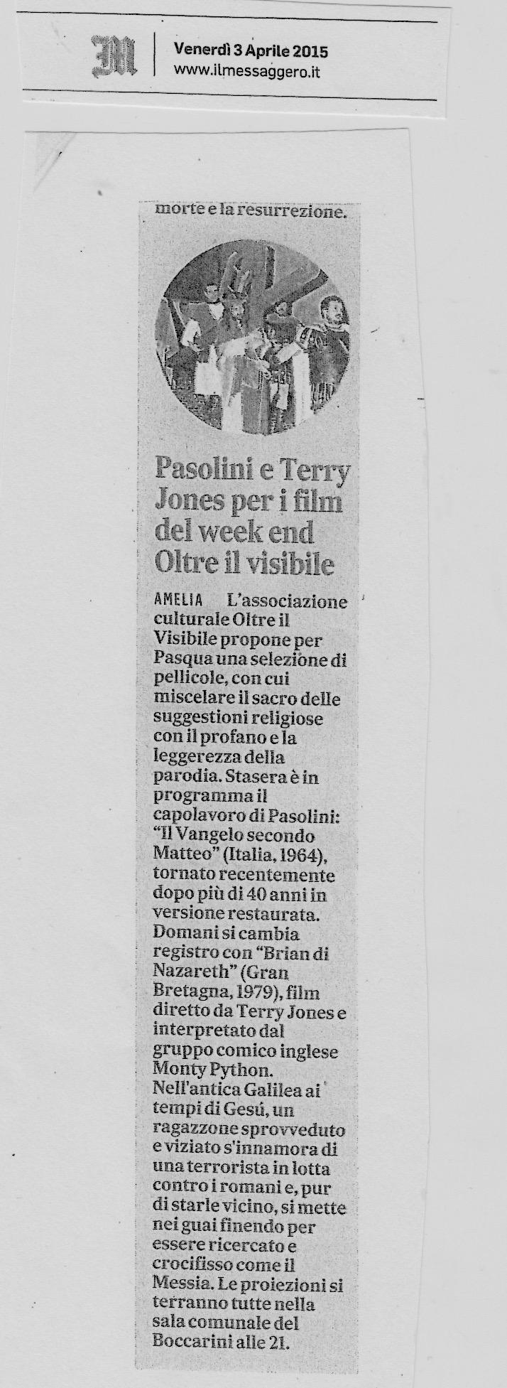 Il Messaggero, 3 Aprile 2015.